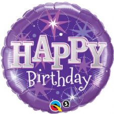 Happy Birthday Purple Sparkle Foil Helium Balloon